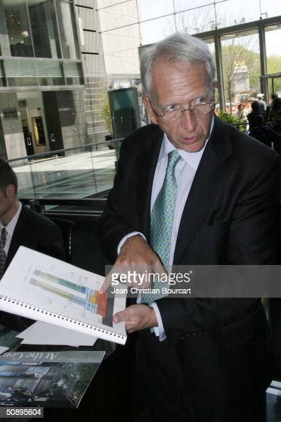 An interior view of the new Time Warner Building is seen in Columbus Circle behind architect Howard Elkus April 29 2004 in the Manhattan borough of...