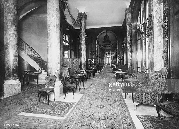 An interior view of the Ritz Hotel in Paris circa 1920
