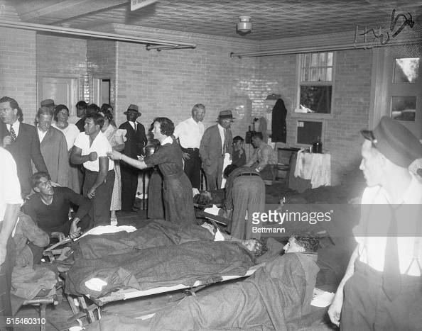 An interior view of the Spring Lake firehouse which was converted into a temporary hospital to treat the rescued passengers and crew members of the...