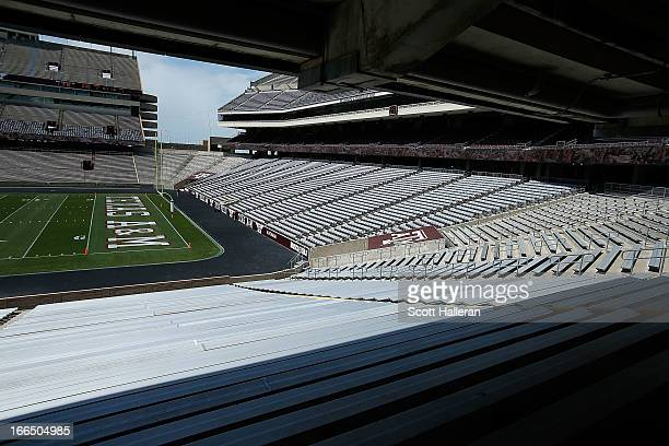 An interior view of the stadium before the start of Texas AM Aggies Maroon White spring football game at Kyle Field on April 13 2013 in College...