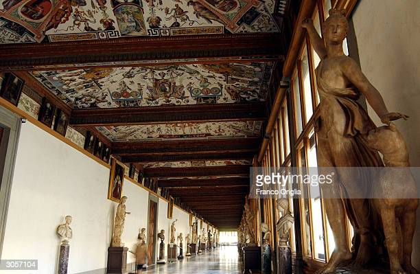 An interior view of the Uffizi Gallery's Corridor is shown March 9 2004 in Florence Italy Florence is on the eve of the most important exhibition of...