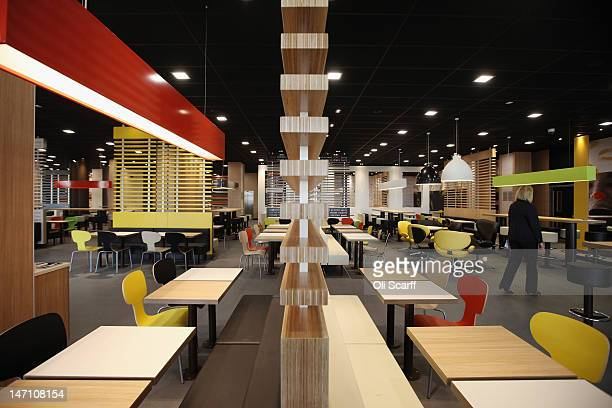 An interior view of the world's largest McDonald's restaurant and their flagship outlet in the Olympic Park on June 25 2012 in London England The...