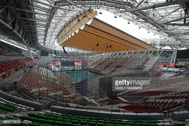 An interior view shows the Kazan Arena stadium in Kazan on Tatarstan on July 11 2015 The venue will host matches during the 2018 FIFA World Cup...