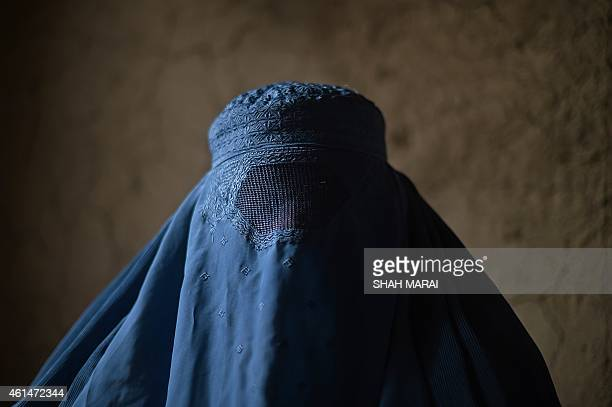 An internally displaced Afghan woman waits to receive food relief aid from the World Food Programme in Kabul on January 13 2015 The UN says about...
