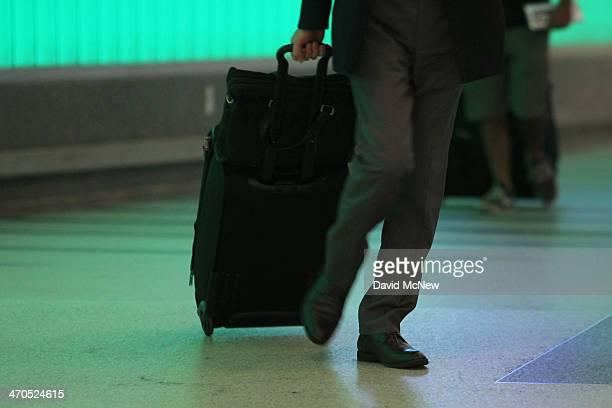 An international air traveler arrives at Tom Bradley International Terminal at Los Angeles International Airport on February 19 2014 in Los Angeles...