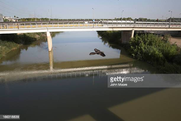 An international bridge spans the Rio Grande River at the USMexico border on April 11 2013 in Hidalgo Texas According to the US Border Patrol...