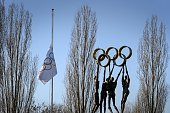 An International Olympic Committee flag flies at halfmast at IOC headquarters on January 5 2015 in Lausanne The IOC announced on January 4 that...