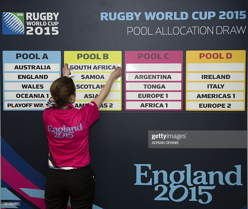 An International Rugby Board (IRB) employee sticks the teams name into the relevent pool groups during the Rugby World Cup draw in London on December 3, 2012. Teams in the top three bands are to be drawn for the England 2015 tournament. There will be four pools of five teams to compete at the Rugby World Cup 2015. England will play against Australia and Wales in Pool A.