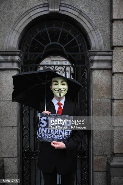 An internet during a protest march in Dublin against SOPA and ACTA legislation being implemented by the Irish Government and EU