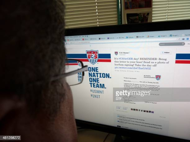 An internet page shows Team USA's letter ostensibly from coach Jurgen Klinsmann for fans to fill in and give to their bosses on June 26 ahead of the...