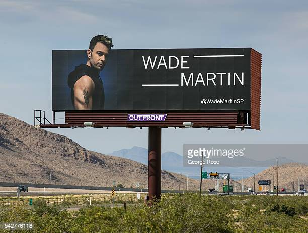 An Interstate 15 billboard promoting music producer Wade Martin is viewed on June 9 2016 in Las Vegas Nevada Tourism in America's 'Sin City' has over...