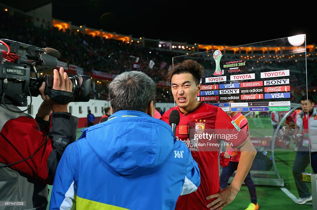 An interview is taken straight after the final whistle during the FIFA Club World Cup Semi Final match between Guangzhou Evergrande FC and Bayern Muenchen at the Agadir Stadium on December 17, 2013 in Agadir, Morocco.