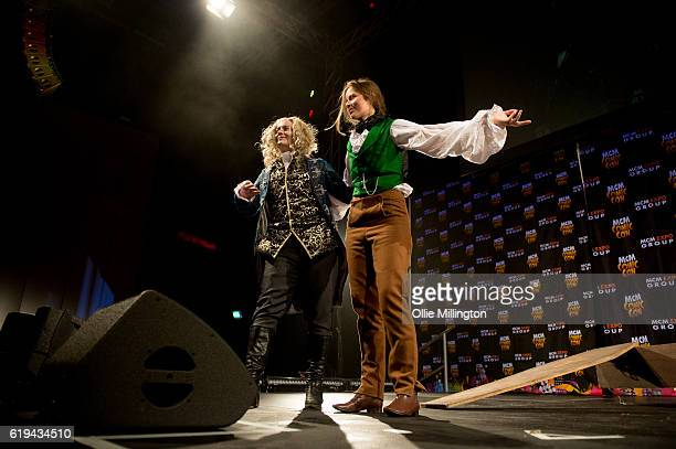 an Interview with a Vampire cosplay act compete in the Cosplay Masquerade on day 3 of the MCM London Comic Con at ExCel on October 30 2016 in London...
