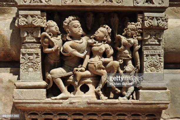 An intricate sculpture depicting Hindi deities at the Harshat Mata Temple in the village of Abhaneri, Rajasthan, India