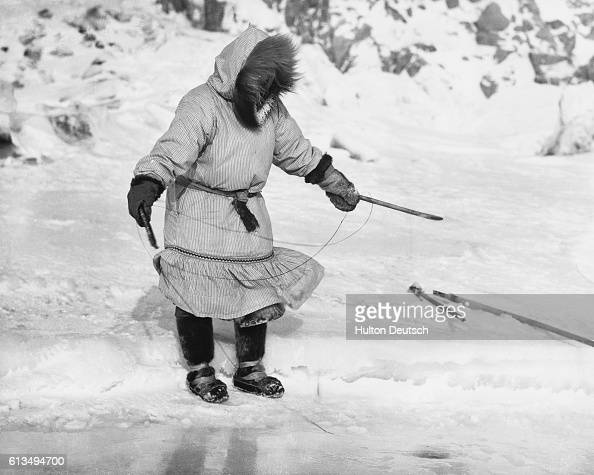 An Inuit woman fishes with a simple hook which has no barbs In order to land the fish before it wriggles away she has to wind the line quickly around...