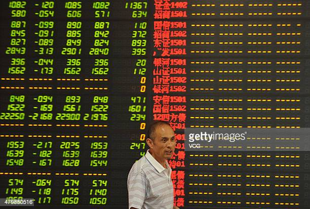 An investor observes stock market at a stock exchange hall on July 8 2015 in Fuyang Anhui Province of China Chinese shares dropped sharply on...