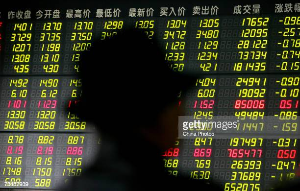 An investor view stock index through an electronic share price board at a securities company on March 1 2007 in Nanjing of Jiangsu Province China...