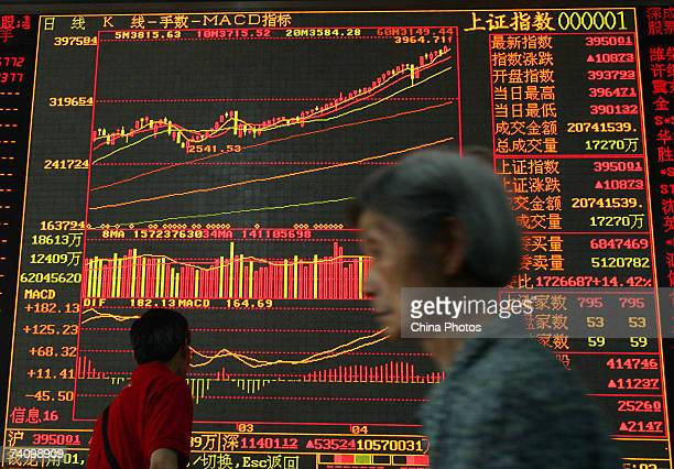 An investor walks past an electronic screen displaying stock index at a securities company on May 8 2007 in Wuhan of Hubei Province China Chinese...
