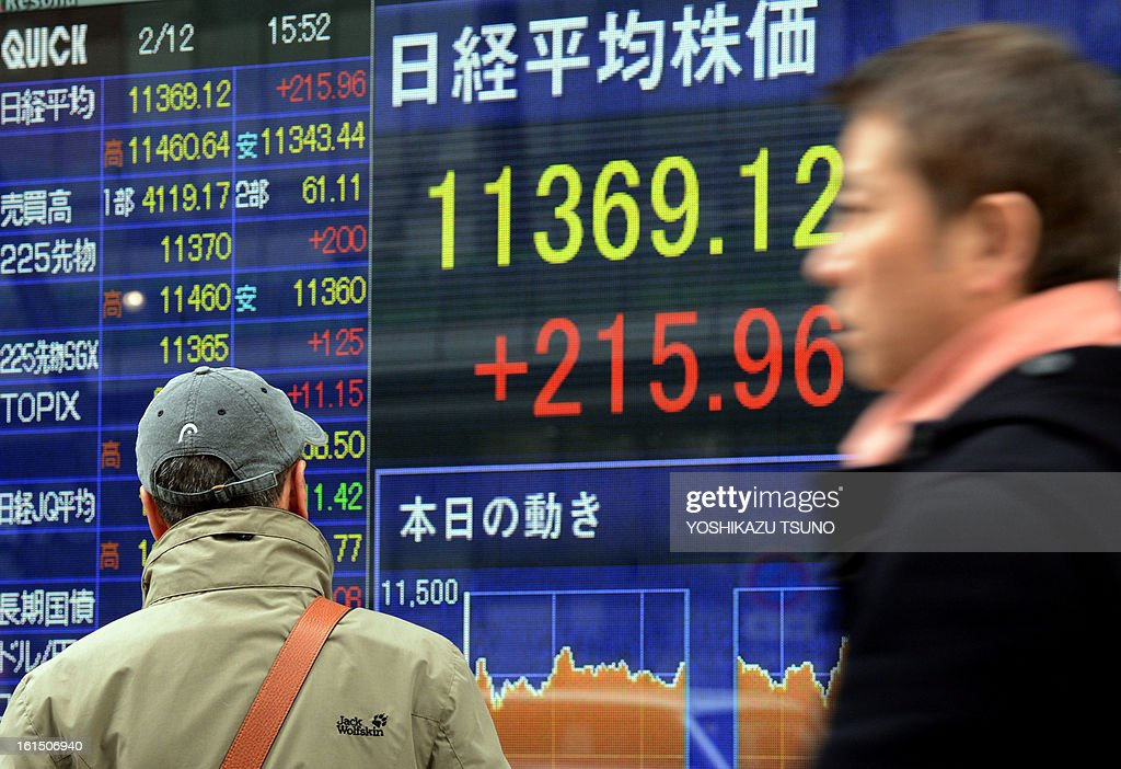 An investor watches a share prices board in Tokyo on February 12, 2013. Japan's share prices rose 215.96 points to close at 11,369.12 points at the Tokyo Stock Exchange after the yen hit a fresh low in New York and following a long weekend in Japan, while investors look to a G20 meeting later this week. AFP PHOTO / Yoshikazu TSUNO