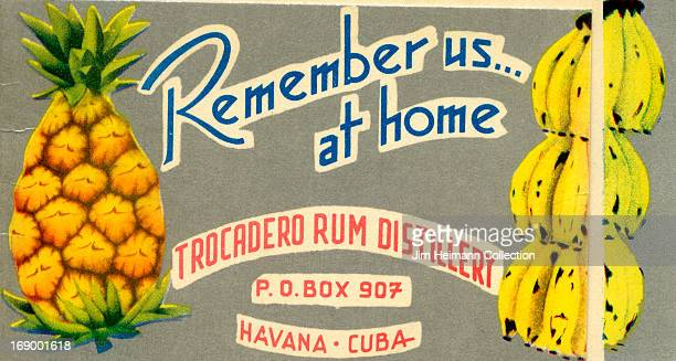 An invitation for Trocadero Rum Distillery in Havana reads 'Remember Us at Home Trocadero Rum Distillery' from 1949 in Cuba