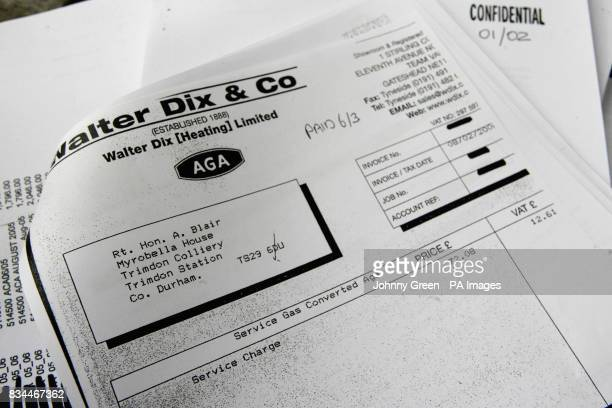 An invoice to Tony Blair dating from for a service charge for his aga cooker at his residence in County Durham amounting to 8469 one of around 450...
