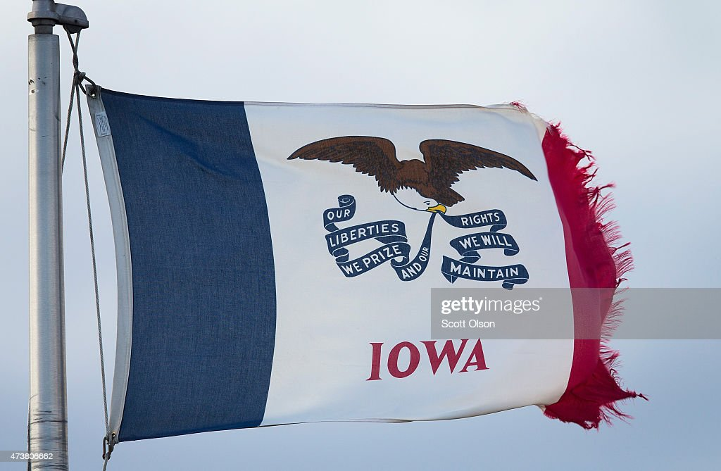 An Iowa state flag flies near the entrance to a farm operated by Daybreak Foods which has been designated 'bio security area' on May 17 2015 near...