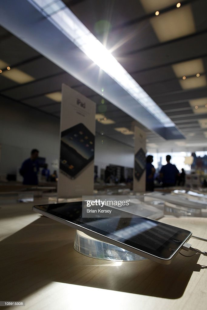 An iPad is displayed at the new Apple Store during a media preview event on October 21, 2010 in Chicago, Illinois. The new store opens on October 23 in Lincoln Park, a part of the city's Near North Side that has been trendy for several years.