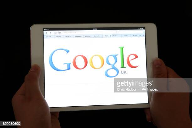 An iPad showing the Google search engine home page as the internet giant celebrates it's 15th birthday today