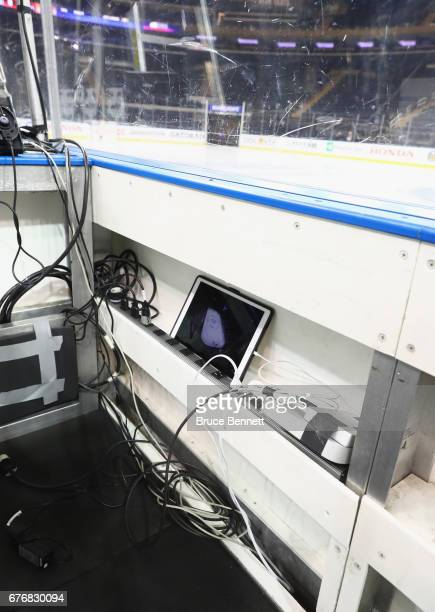 An iPad used for video replays sits in the penalty box prior to the game between the New York Rangers and the Ottawa Senators in Game Three of the...