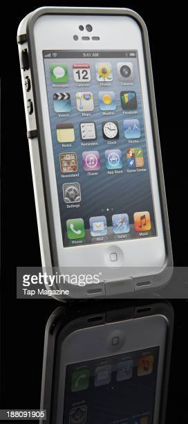 An iPhone 5 with a LifeProof Fre case photographed on a black background taken on April 3 2013