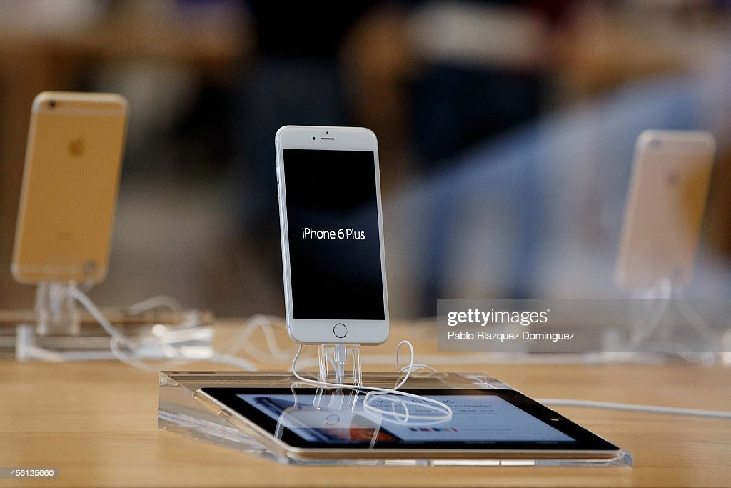 An iPhone 6 Plus is on display at Puerta del Sol Apple Store as Apple launches iPhone 6 and iPhone 6 Plus on September 26 2014 in Madrid Spain...