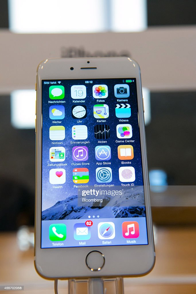 An iPhone 6 Plus smartphone stands on display during the sales launch of the iPhone 6 and iPhone 6 Plus at the Apple store in Berlin Germany on...