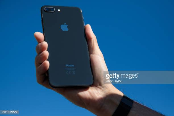 An iPhone 8 plus is held for a photograph on September 22 2017 in London England Apple have today launched their new mobile phone the iPhone 8 and 8...