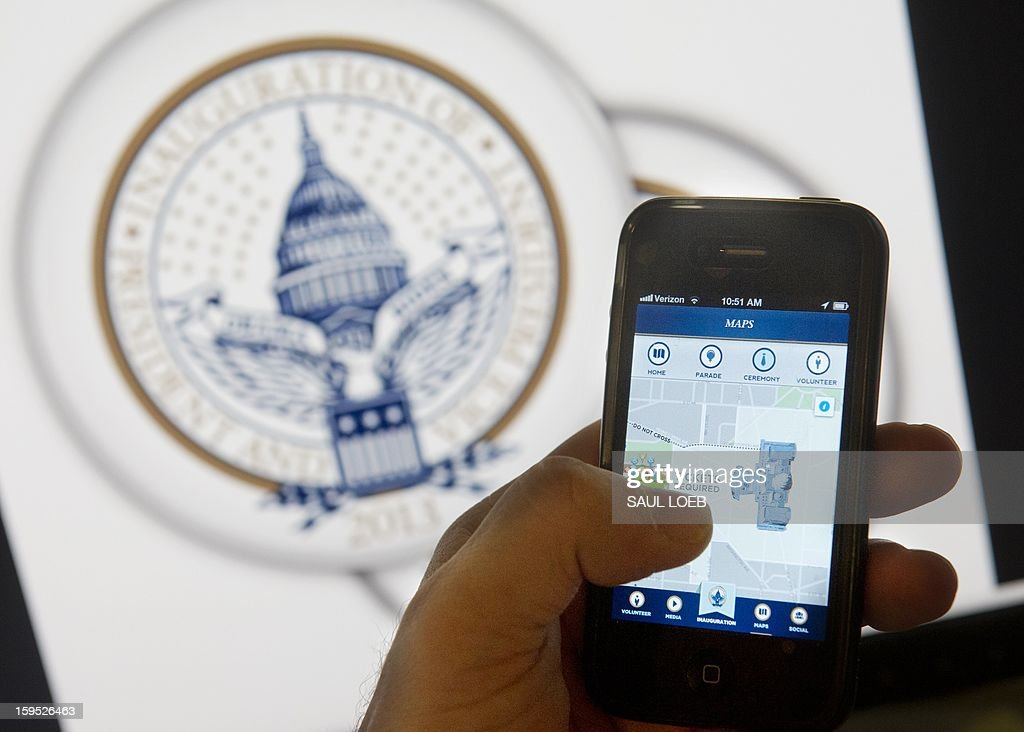 An iPhone app displays information about the second inauguration of US President Barack Obama in Washington, DC, on January 14, 2013. Organizers unveiled the first-ever smartphone app for a US presidential inauguration on Monday, allowing users to track Barack Obama's swearing in, sign up for events and check maps for the closest toilets. The Presidential Inaugural Committee's debut application for iPhone and Android users provides a front-row seat for people not in Washington on January 21, while offering tips to attendees on how to navigate the vast security apparatus set up for the big day. It will also provide live-stream video of Obama's swearing in for a second term, locations of viewer access points, schedules for events nationwide, and historical facts and figures about the 56 previous presidential inaugurations. AFP PHOTO / Saul LOEB