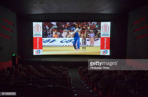 An IPL match playing to a near empty theater in the city