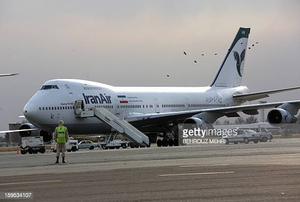 An Iran Air Boeing 747 passenger plane sits on the tarmac of the domestic Mehrabad airport in the Iranian capital Tehran on January 15 2013 Austrian...