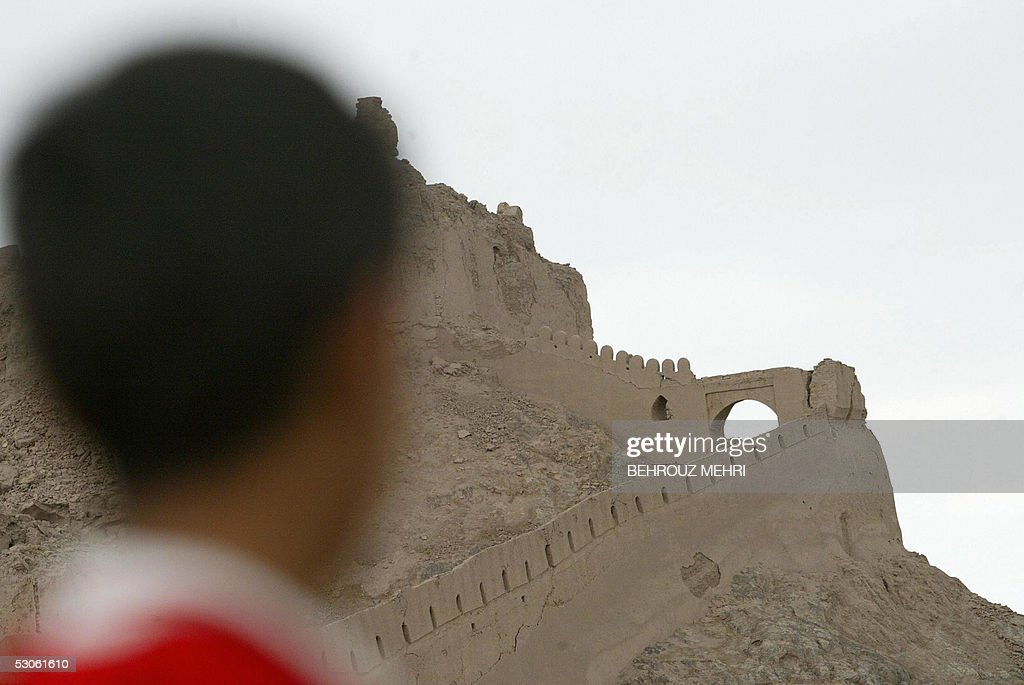 BAM An Iranian boy looks at the Bam citadel 11 June 2005 in Bam The people of Bam are preparing to vote in Iran's presidential elections out of duty...