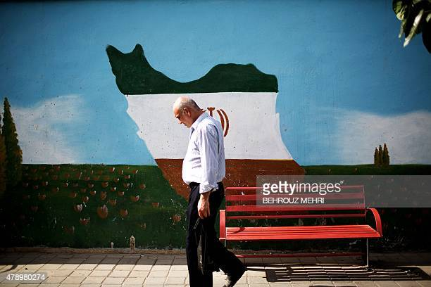 An Iranian man walks past a mural displaying the Iranian map adorned in the colours of the country's national flag on June 29 2015 in Tehran Despite...