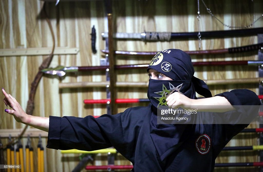 An Iranian woman is seen as she is trained to become a ninja to be able to defend herself at the Rafah Sports Hall in Tehran, Iran on May 3, 2016.