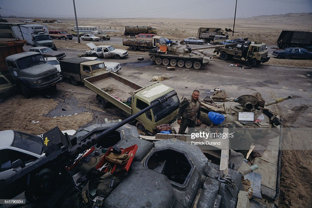 An Iraqi convoy is destroyed by coalition bombing during the Persian Gulf War In August of 1990 Iraqi president Saddam Hussein invaded Kuwait causing...