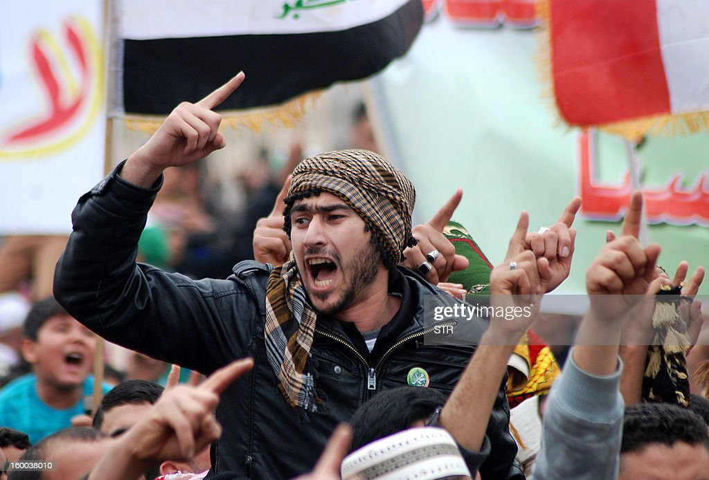An Iraqi demonstrator shouts slogans during an anti-government protest in the central city of Samarra on January 25, 2013. Six demonstrators were killed and 35 wounded when soldiers opened fire west of Baghdad as tens of thousands rallied in Sunni-majority areas calling for Iraq's Shiite Prime Minister Nuri al-Maliki to quit, railing against alleged targeting of their minority community by the Shiite-led authorities.