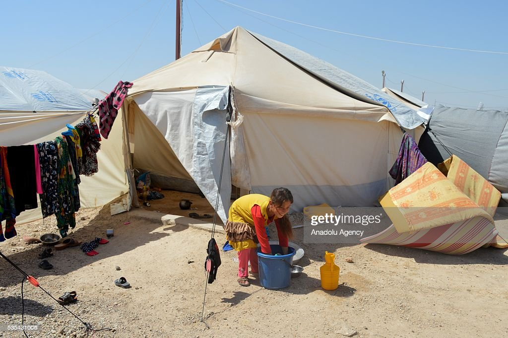 An Iraqi kid, fled from ongoing clashes between Iraqi forces and Daesh terrorists with her family in Fallujah, washes the dishes in a tent camp near Amiriyah Fallujah city of Al Anbar Governorate of Iraq on May 29, 2016.