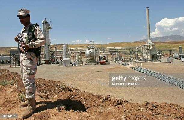An Iraqi Kurdish soldier stands guard at the Tawke oil field near the town of Zacho on May 31 2009 in Dohuk province about 250 miles north of Baghdad...