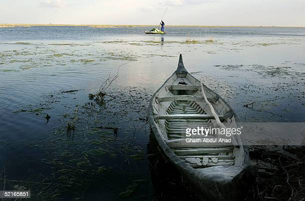 An Iraqi marsh arab woman punts in the marshes February 8 2005 south of the Iraqi city of Ammarah Criminality not insurgency is the biggest issue for...