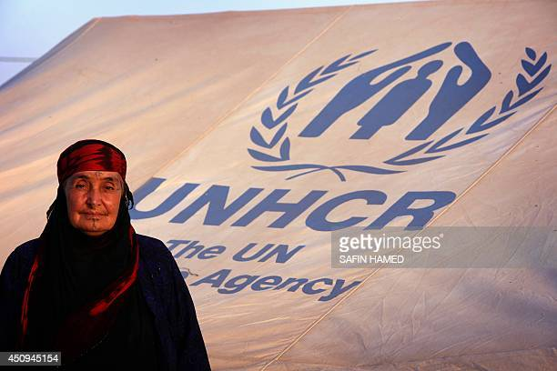 An Iraqi woman poses for a picture next to a tent in northern Iraq on June 20 at a temporary camp in Aski kalak 40 kms west of the Kurdish autonomous...