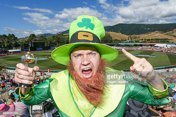 An Ireland fan shows his support during the 2015 ICC Cricket World Cup match between the West Indies and Ireland at Saxton Field on February 16 2015...