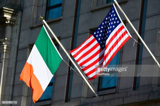 An Irish and American flag seen in Dublin city center ahead of St Patrick's Festival 2017 On Friday March 15 in Dublin Ireland