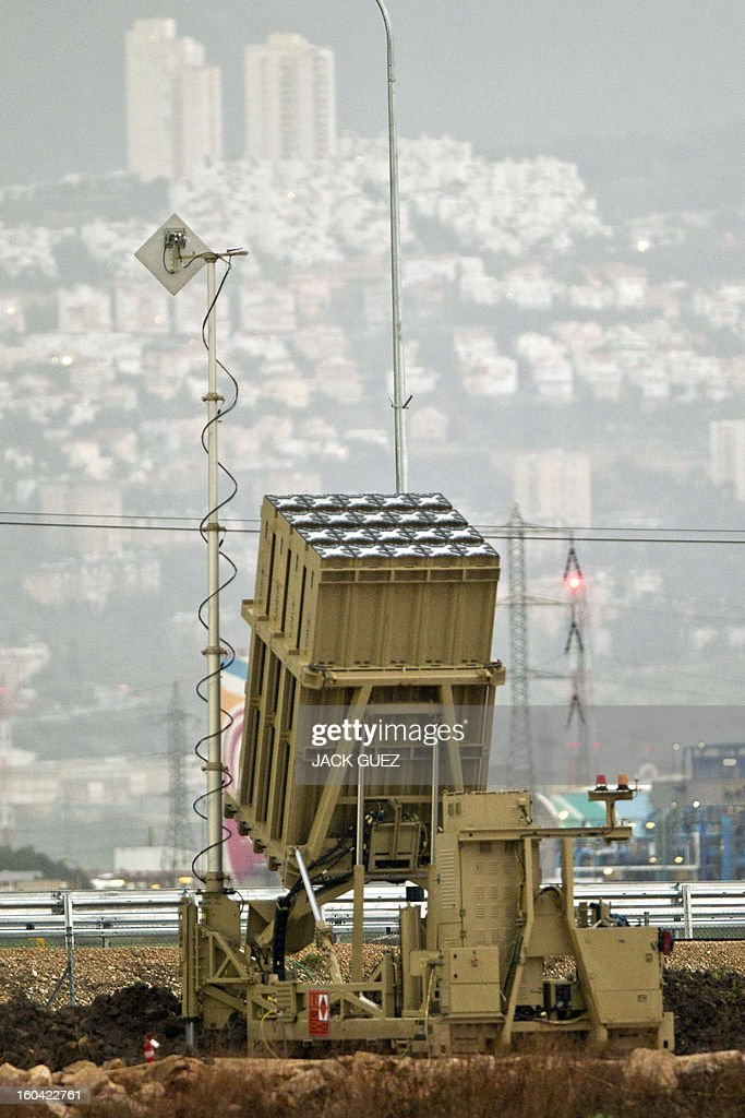 An 'Iron Dome' short-range missile defence system is pictured near the northern Israeli city of Haifa on January 31, 2013. The Iron Dome defence missile system is designed to intercept and destroy incoming short-range rockets and artillery shells. Fearing that Syrian chemical weapons could fall into the hands of Islamist militants, Israel is taking diplomatic and military steps to prevent it, local media and a security source said. AFP PHOTO / JACK GUEZ