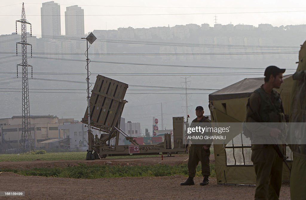An 'Iron Dome' short-range missile defence system is pictured near the northern Israeli city of Haifa on May 6, 2013 .AFP PHOTO/AHMAD GHARABLI