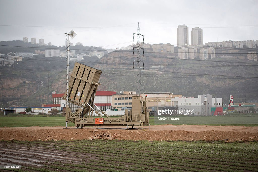An 'Iron Dome' short-range missile defense system is positioned near the northern city of Haifa on January 31, 2013 in Israel. The Iron Dome missile defense system is designed to intercept and destroy incoming short-range rockets and artillery shells. Israel remains on high alert to the possibility of Islamic militants getting hold of Syrian missiles and chemical weapons, with reports yesterday that the Israeli air force launched an airstrike on a convoy carrying weapons from Syria to Lebanon on the Syria-Lebanon border.